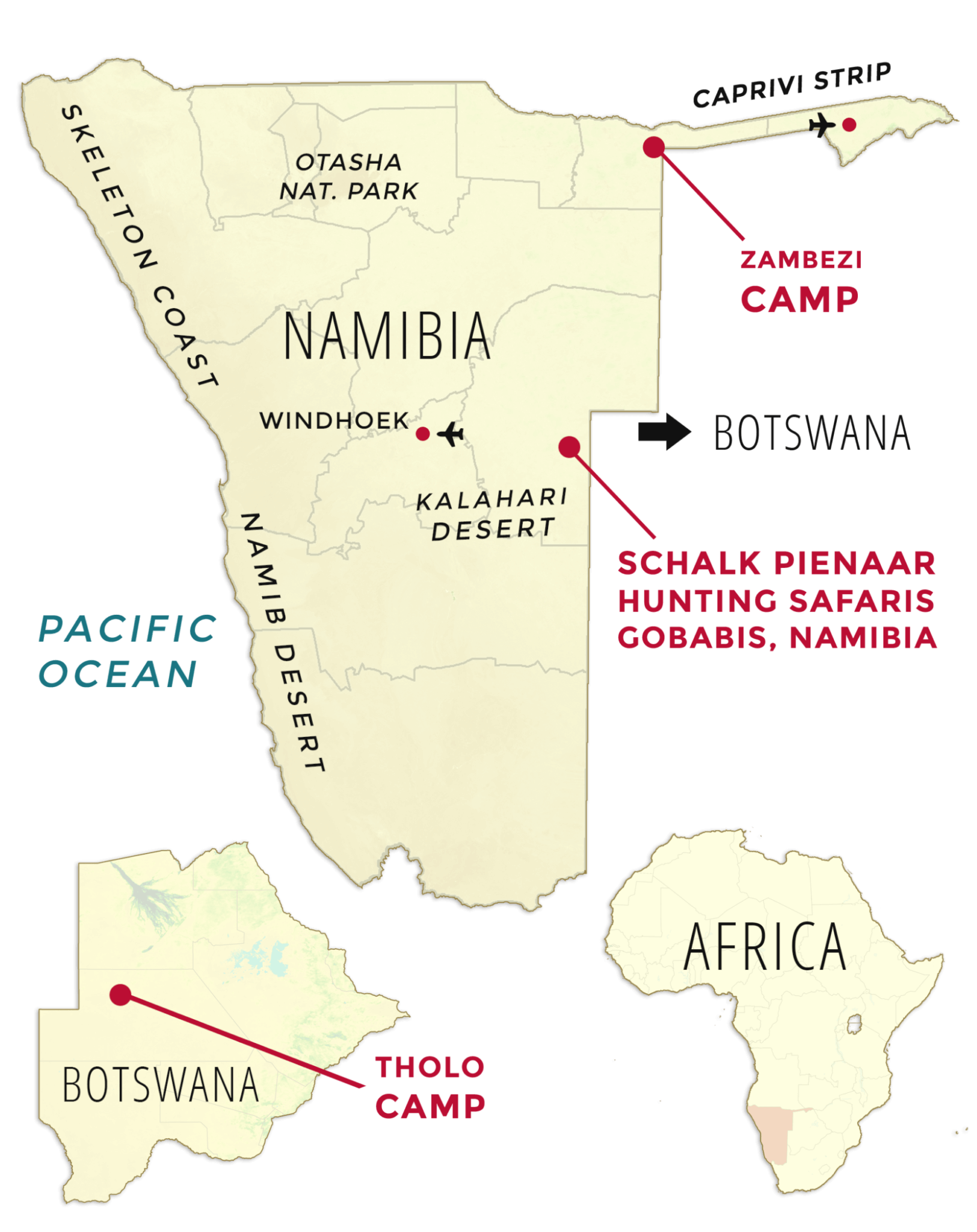 Schalk Pienaar Safaris Namibia ~ Our Map