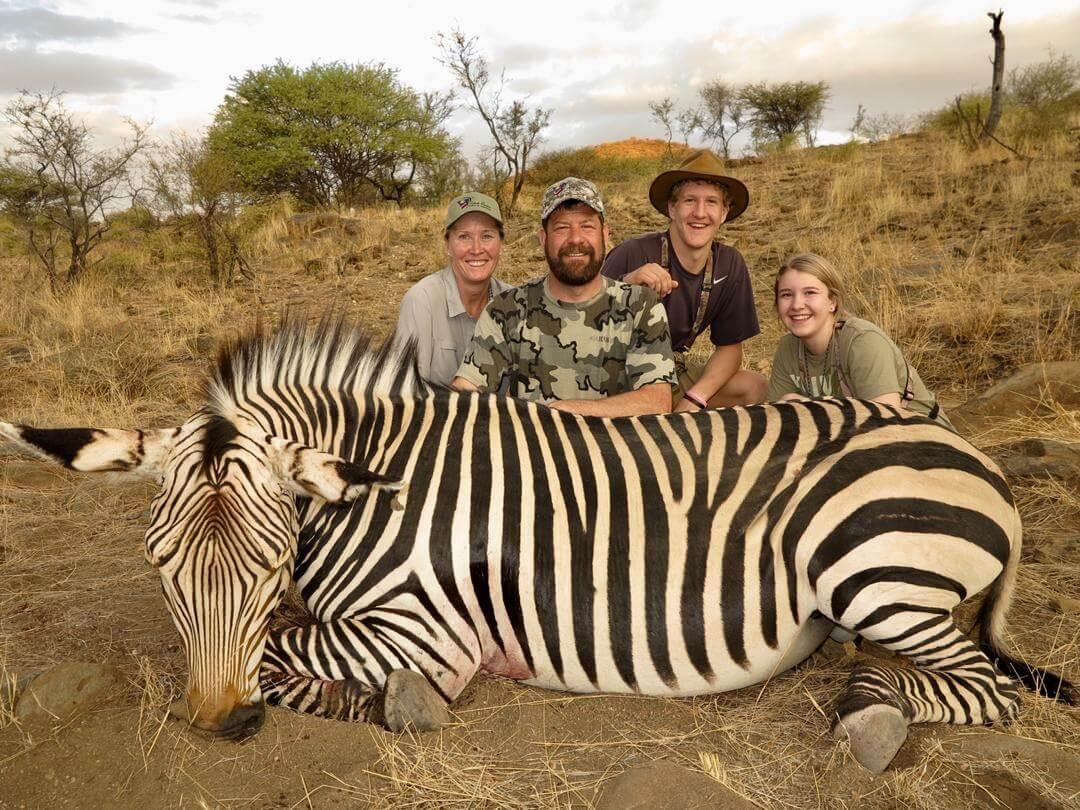 family zebra hunt namibia